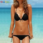 KissTies®Women's Halter Slim Sexy Solid Color Beach Wear Bikini Australia Swimwear