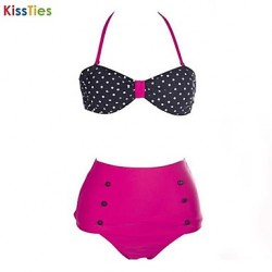 KissTies®Women's Vintage Halterneck Polka Dot Print Six Buttons Swimsuit Australia Bikini
