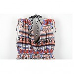 Women's Cover-Ups , Floral Acrylic/Spandex Black/Multi-color