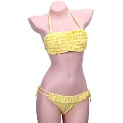 Women's Bandeau Bikinis Australia , Solid/Ruffle Push-up/Padless Bra Nylon/Polyester Yellow