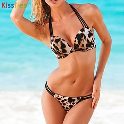 KissTies®Women New Sexy Leopard Push-up Halter Bikinis Australia