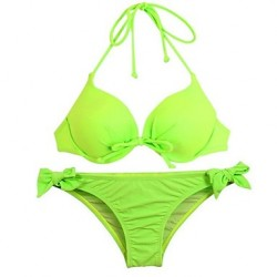 Women's Halter Bikinis Australia Push-up Cotton Blends Green