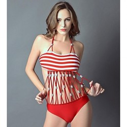 Women's Halter/Bandeau One-pieces , Geometric Push-up Nylon/Polyester Red