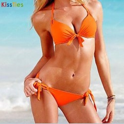 KissTies®Women's Sexy solid color Lacing Two-piece bikini Swimsuit