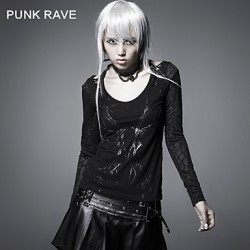 PUNK RAVE T-324 Women's Vintage/Sexy Micro-elastic Long Sleeve Regular T-shirt (Cotton)