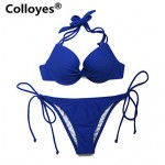 Colloyes Women Royal Blue Add-2-Cups Halter Top Set with Push-up Molded Cups Adjustable Halter Straps Bikinis Australia Swimwear