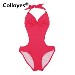 Colloyes Women Red One-piece with Fringe Side Cut-outs Adjustable Halter Straps Bikinis Australia Swimwear