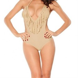 Women's Halter One-pieces , Solid/Tassels Wireless Polyester/Spandex Beige