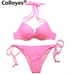 Colloyes Women Triangle Top with Classic Cut Bottom Padded Bras Adjustable Halter Straps Bikinis Australia Swimwear Australia Pink
