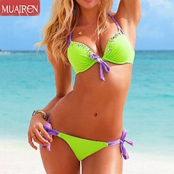 Muairen® Women'S DropletS Sexy Bikini Australia SwimSuit Female Diamond RhineStone Buckle SwimSuitS