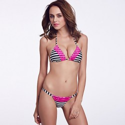 The Fille Women's Wireless/Padded Bras /Rose Red Lacy/Triangle Cups/ Blue White Stripe Halter Bikini Australia Tops