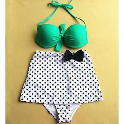 Women's Fashion Two-tone Dot Bow Push Up High waist Bikini Australia Set Swimwear Australia Swimsuit Australia Beachwear