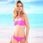Women's Halter/Bandeau Bikinis Australia , Solid Padded Bras Cotton/Nylon/Polyester/Spandex Pink