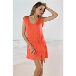Women's Cover-Ups , Solid Cotton Pink/Blue/Green/Yellow/Orange/Red