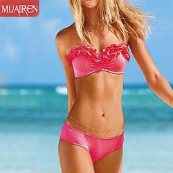 Muairen® Women'S Three-DimenSional Lace Sexy Pink Bikini Australia SwimSuit
