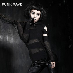 PUNK RAVE T-288 Women's Vintage/Sexy Micro-elastic Short Sleeve Long T-shirt (Cotton)