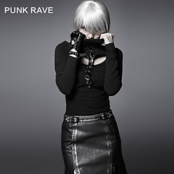 PUNK RAVE T-323 Women's Vintage/Sexy Micro-elastic Long Sleeve Regular T-shirt (Cotton)