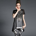 Womens Sexy Casual Print Cute Party Work Plus Sizes Micro Elastic Short Sleeve Regular Blouse