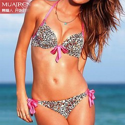 Muairen® Women'S Solid Color DropletS 6 V Neckline Bikini Australia SwimSuit Steel Prop Gather Pink PrinceSS