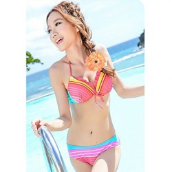 Women's Three-piece Colorful Stripes Padded Underwire Swimsuit