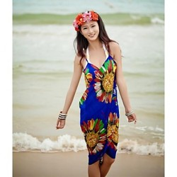 Women's Fashion Sexy Sunflower Chiffon Deep-v Swimwear Australia Swimsuit Australia Bikini Australia Cover-up Beachdress