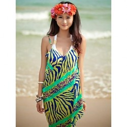 Women's Fashion Green Zebra Chiffon Deep-v Swimwear Australia Swimsuit Australia Beach dress Bikini Australia Cover-up