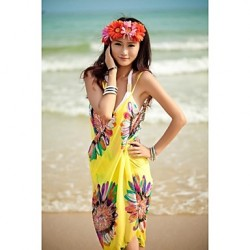 Women's Fashion Sexy Sunflower Chiffon Deep-v Swimwear Australia Swimsuit Australia Beachdress Bikini Australia Cover-up