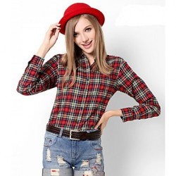 U&Shark New Hot! Women's  British Style 100% Cotton Leisure Sanding Long Sleeve Shirt with Blue  Red Yellow Check