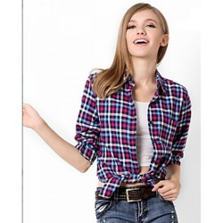 U&Shark New Hot! Women's  British Style 100% Cotton Leisure Flannel Long Sleeve Shirt with Black Red Blue Check