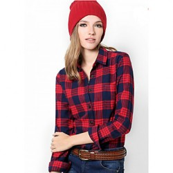 U&Shark New Hot! Women's  British Style 100% Cotton Sanding Plaid Leisure Long Sleeve Shirt with Black Red Check