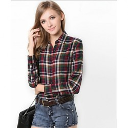 U&Shark New Hot! Women's  British Style 100% Cotton Leisure Flannel Long Sleeve Shirt with Green Red Black Check