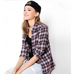 U&Shark New Hot! Women's  British Style 100% Cotton Leisure Flannel Long Sleeve Shirt with Purple Blue Black Checks