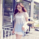 Pink Doll®Women's Round Neck Casual/Lace Patchwork Shirt