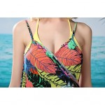 Women's Fashion Sexy Multicolor Leaf Print Deep-v Swimwear Australia Swimsuit Australia Beachdress Bikini Australia Cover-up