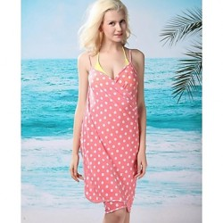 Women's Fashion Sexy Pink Dot Deep-v Swimwear Australia Swimsuit Australia Beachdress Bikini Australia Beach Cover-up