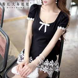 Pink Doll®Women's Bow Casual Cute Patchwork T-shirt