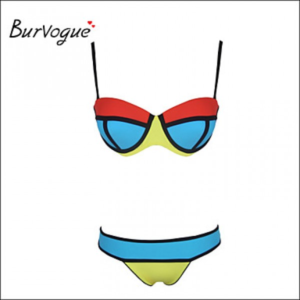 Burvogue Women's Push up Bright Diving Suit Neoprene Padded Swimsuit Australia Bikini Australia Set Swimwear