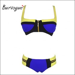 Burvogue Women's Zip Bandage Bikini Australia Set Push-up Padded Bra Swimsuit Australia Swimwear