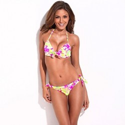 Women's Halter Bikinis Australia Push-up/Underwire Bra Nylon/Spandex Multi-color