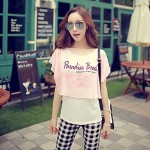 Pink Doll®Women Round Neck Casual Print Cute Loose T Shirt