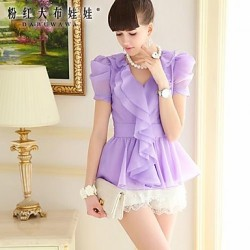 Women's Purple Shirt Short Sleeve