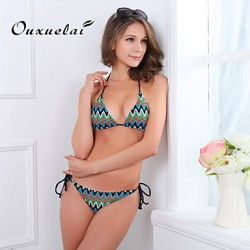 OUXL®Women's Wireless/Padded Bras Color Block/Floral/Dot/Bandage/Geometric Bandeau Bikinis Australia (Nylon/Polyester)