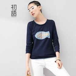 Women's Blue/White Shirt Long Sleeve