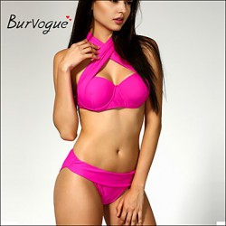 Burvogue Women's Sexy Padded Bikini Australia 2pcs Set Trikini Push up Stripped Swimsuit