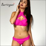 Burvogue Women Sexy Padded Bikini Australia 2pcs Set Trikini Push Up Stripped Swimsuit