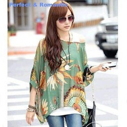 P&R Women's Summer Loose Bohemia Beach Bat Sleeve Green Chiffon Shirt (Lining Vest Not Included)