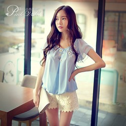 Pink Doll®Women's Round Neck Casual Loose Short Sleeve 3D Flowers Blouse