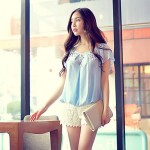 Pink Doll®Women Round Neck Casual Loose Short Sleeve 3D Flowers Blouse