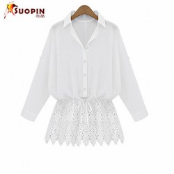 Women's Casual/Lace/Plus Sizes Inelastic Long Sleeve Long Shirt (Lace/Cotton)