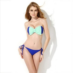 CA154001-608  Hot Selling  New Mint Green + Sapphire Blue Bow Bra Sexy Bikini Australia (M)